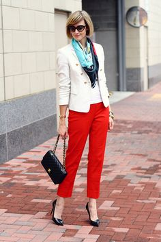 The red City Pant as styled by @district of chic.  We love!  #whbm