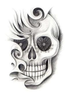 tatouage tete de mort tatouage de crne dessin la main sur papier