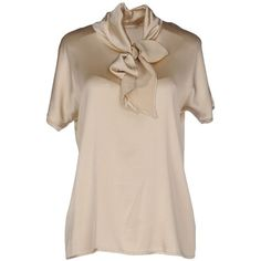Jucca Blouse ($140) ❤ liked on Polyvore featuring tops, blouses, beige, pink blouse, short sleeve blouse, short sleeve tops, jucca and beige blouse