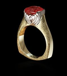 """cynthia renee, full custom """"lotus"""" ring featuring padparadsha sapphire by cynthia renee, inc."""