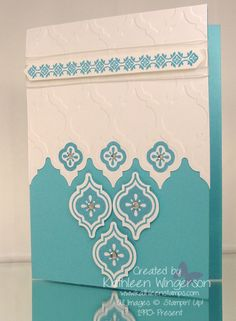 """Stampin' Up! Mosaic Madness; Whisper White and Tempting Turquoise card stock; Tempting Turquoise ink; Big Shot Modern Mosaic embossing folder; Mosaic punch; Stamp-a-ma-jig; Whisper White 5/8"""" Organza ribbon, Rhinestones."""