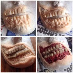 The making of the zombie prosthetic This is a really easy and fairly cheap way of making a prosthetic. I used Mouldlife Sculpt Gel (tinted with foundation) to create this by slowly building up layers straight onto a cast of my own face. The teeth are resin teeth off eBay, and I made a gap inbetween the upper and lower teeth so I could talk and drink. Into sculpt gel you could add a lot of texture and detail and it is really easy to work with. I added rough colouring with @mrdashbo Paints…