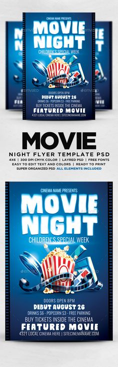 Pool Party Flyer Party flyer, Flyer template and Font logo - movie night flyer template