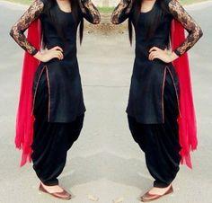 Black Cotton Patiala Unstitch Salwar Suit With Net Sleeve