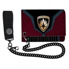 Guardians of the Galaxy Chain Wallet.Burgundy, blue, and black wallet is embossedFinished with a gold-tone metal GotG logo plaqueBlack metal chain, black PU leatherWallet opens to reveal plenty of slots for cards and cash, plus a transparent ID window. Leather Chain, Metal Chain, Pu Leather, Guardians Of The Galaxy Vol 2, Marvel, Star Lord, Black Wallet, Wallet Chain, Black Metal