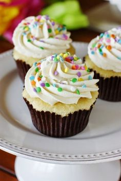 The BEST Vanilla Cupcakes + the BEST Vanilla Frosting ~ thescupcakes are unbelievably delicious! Make Dairy free for Carson's class. Köstliche Desserts, Delicious Desserts, Dessert Recipes, Cupcake Recipes Easy, Best Vanilla Cupcake Recipe, Small Desserts, Caramel Buttercream, Vanilla Frosting, Buttercream Frosting