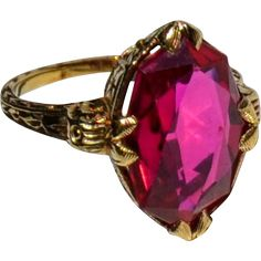 Allsopp Bros. Art Deco 10 K Simulated Ruby Ring