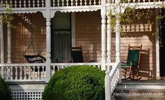Beautiful front porch with running trim and turned columns