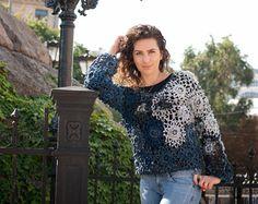 blue sweater / sweater knitting / sweater crocheted/ openwork sweater / fashion sweater / winter fashion / Autumn Fashion / Women's Fashion
