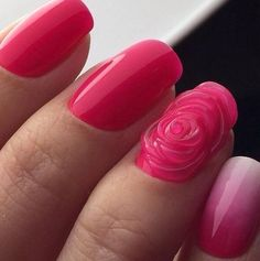 3d nails, Drawings on nails, Evening nails, Original nails, Party nails, Pink manicure ideas, Pink spring nails, ring finger nails