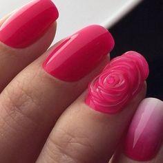 3d nails, Drawings on nails, Evening nails, Original nails, Party nails, Pink manicure ideas, Pink spring nails, ring finger nails