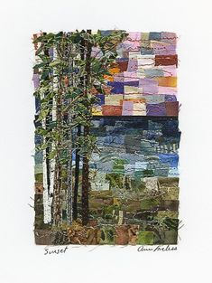 """Confetti Quilts -- I see a similarity with my """"mosaicked fabric"""" pieces, minus any stitching. Landscape Quilts, Landscape Art, Watercolor Quilt, Textiles, Quilt Modernen, Tree Quilt, Textile Fiber Art, Impressionist Art, Small Quilts"""