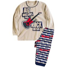 Pijama Infantil Masculino em Moleton Guitarra - Brandili :: 764 Kids | Roupa bebê e infantil