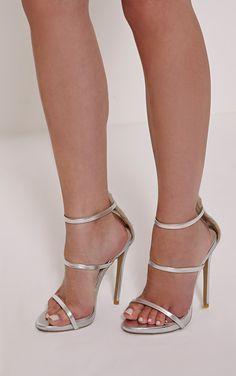 Asara Silver Metallic Heeled Sandals Image 1