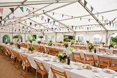 Village fete style wedding - long tables
