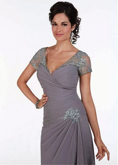 Buy discount Glamorous Chiffon A-line Skirt V-Neckline Floor-Length Mother Dress at Magbridal.com