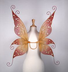Fairy wings - Excellent for Halloween costume, fairy costume, wedding, fairy photography - Gold red fairy wings - Jenny design