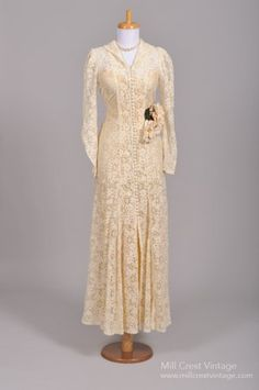 1940 Crocheted Lace Vintage Wedding Gown