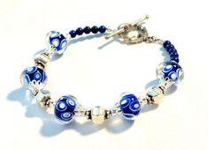 Handmade Artisan Lampwork Bracelet Blue white LB047    | egrobeck - Jewelry on ArtFire