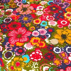 """Vintage Fabric - Colorful Flower Garden - 5th Avenue - By the Yard x 48""""W - 1960's - Retro Sewing Material - Autumn - Harvest - Decor"""