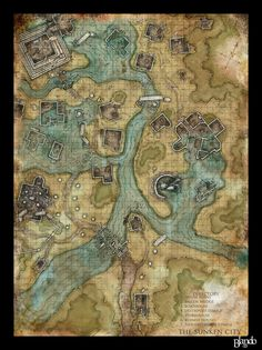 Dnd map: The Sunken City by Stormcrow135 on @DeviantArt