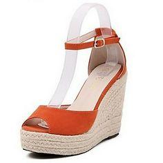 De las mujeres del ante del talón de cuña de la plataforma zapatos de las sandalias (más colores) – EUR € 24.74