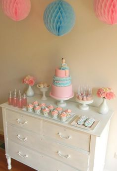 Ballet Theme: A simple pink  blue dessert table, love the dresser as the table!