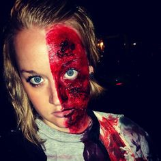 Two face zombie makeup