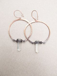 Hoop Earrings Raw Quartz Crystal Point Copper by daniellerosebean, $42.00