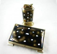 1950s Vintage Cigarette Case and Table Lighter