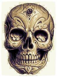 Aztec skull with artwork