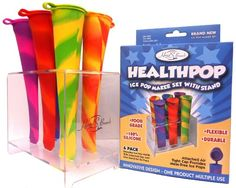 Silicone Ice Pop Popsicle Molds and Stand Together★Ice Pop Maker ★ HEALTHPOP Includes: Set of 6 Bpa Free Silicone Ice Pop Molds and 1 Stand ★ 6 Bpa Free, Pvc Free, Pthatalate Free, Food Grade, 100% Silicone Ice Pop Molds with Patent Pending, Can't Get lost, mess-free, no-spill, air tight, attached caps. Vibrant, fun, tye-dye colors kids and adults love ★ Durable, Plastic, Elegant Ice Pop Stand provides easy, mess free filling and freezing ...