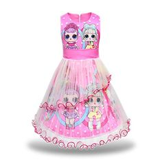 Pandamo Girls Tutu Tulle Princess Dress Doll Digital Print Sleeveless Gown Dress for LOL Doll Surprised Pink) Kids Dress Wear, Dresses Kids Girl, Tutus For Girls, Little Girl Tutu, Little Girl Outfits, Barbie Chelsea Doll, Girls Mermaid Tail, Dinner Gowns, Toy Cars For Kids