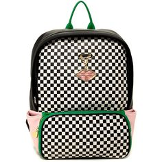 Betsey Johnson Mad About Mod Checker Backpack ($65) ❤ liked on Polyvore featuring bags, backpacks, betsey johnson backpack, rucksack bag, strap backpack, pocket backpack and print backpacks