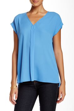 Pleione | Pleated V-Neck Blouse | HauteLook