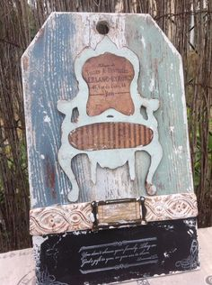 wood tag with IOD mould and chair