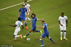 Appeal: Andrea Pirlo claims handball against an England defender as the ball is played across