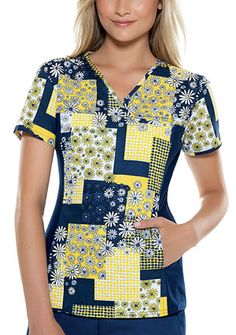 """This innovative top shapes and slims the body! V-neckline, front and back yoke with soft and stretchy side panels in contrast knit! Two hidden pockets! Print and knit combined. Center back length: 25"""" Fabric: 100% Cotton Sheeting. $16.99 #nurses #scrubs #cherokee #sale"""