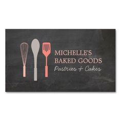 WHISK SPOON SPATULA LOGO Bakery Business Card Template - Ready to customize and order. Great for bakeries, home-made baked goods, cafes, personal chefs, food delivery and more.