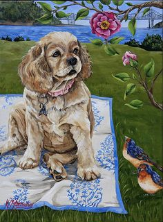 This girl Cocker Spaniel dog that's in this painting reminds me of my own dog that's a Cocker Spaniel too!