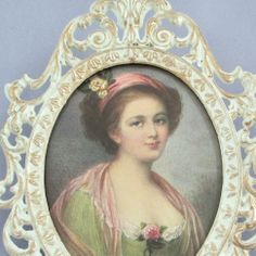 Vintage SHABBY Miniature Fancy FILGIREE Frame ITALY * Portrait of LADY w ROSES