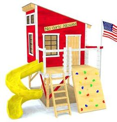 Red wooden clubhouse with loft, rock wall, slide and fire pole