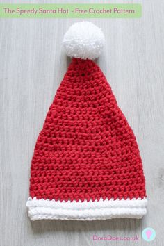 Free Crochet Pattern - The Speedy Santa Hat. Available in 5 sizes (baby-adult), work this crochet Santa Hat up in around an hour using 2 strands of dk. Crochet Santa Hat, Crochet Christmas Hats, Christmas Crochet Patterns, Holiday Crochet, Crochet Baby Hats, Free Crochet, Crochet Geek, Easy Beginner Crochet Patterns, Crochet For Beginners