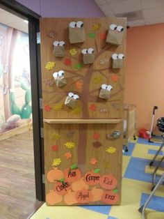 Classroom door....fall owls