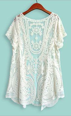 White Short Sleeve Crochet Net Lace Cardigan - abaday.com