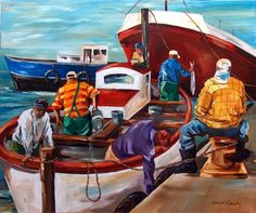 Kalk Bay - Washing Out the Boat. 1020x920mm