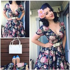 I'm staying home today in the warm, trying to get rid of this stupid sickness! So here's some outfits details from Saturday, I just adore the Woodland Bloom print!  Dress- @collectifclothing  Belt and Bag- Vintage  Shoes- @baitfootwear  Hair flowers - @youronestoppinupshop