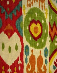 Upholstery Ikat Fabric Multicolored Ikat by greenapplefabrics, $49.00