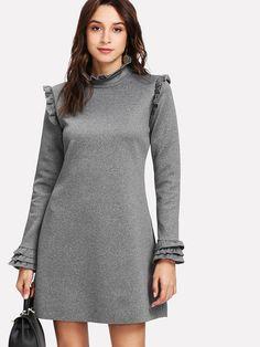Shop Frill Trim Marled Knit Dress online. SheIn offers Frill Trim Marled Knit Dress & more to fit your fashionable needs.