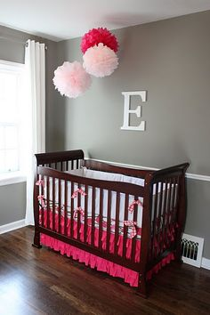 pink and grey nursery - love these colors so that one day, if we have a boy, I can just change everything else to blue and not change the walls